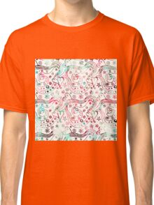 Vintage pink teal hand drawn abstract pattern  Classic T-Shirt