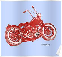 Red Knuckle on Blue Poster