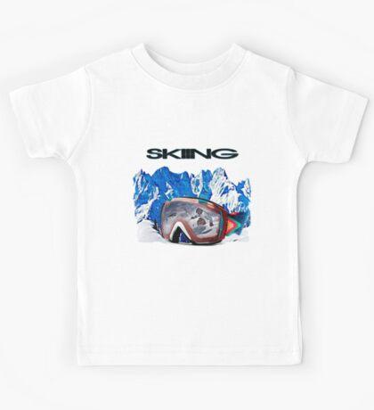 Vintage Snow Skiing gifts Kids Tee