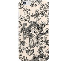 Trendy vintage black white hand drawn floral  iPhone Case/Skin