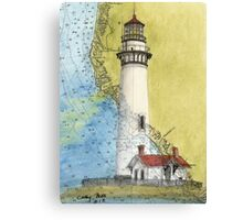 Pigeon Pt Lighthouse CA Chart Map Cathy Peek Canvas Print