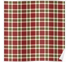 Chic burgundy green christmas plaid tartan Poster