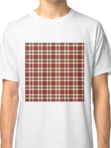 Chic burgundy green christmas plaid tartan Classic T-Shirt