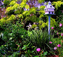 Birdhouse In the Garden by Gabrielle  Lees