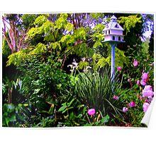 Birdhouse In the Garden Poster