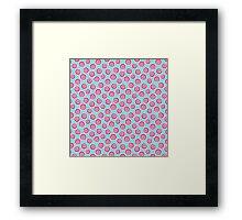 Trendy retro modern teal pink circles pattern Framed Print