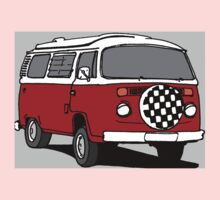Red Vee Dub Bus One Piece - Short Sleeve