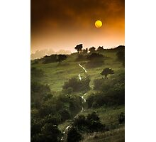 Full Moon Landscape at Sunset Photographic Print