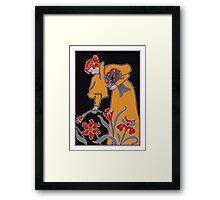 Lady with flowers modern art nouveau Framed Print
