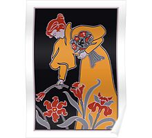 Lady with flowers modern art nouveau Poster