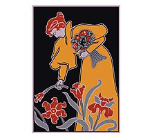 Lady with flowers modern art nouveau Photographic Print