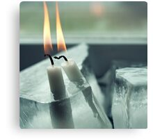 Frozen Lit Candles Canvas Print
