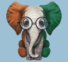 Baby Elephant with Glasses and Ivory Coast Flag Kids Tee