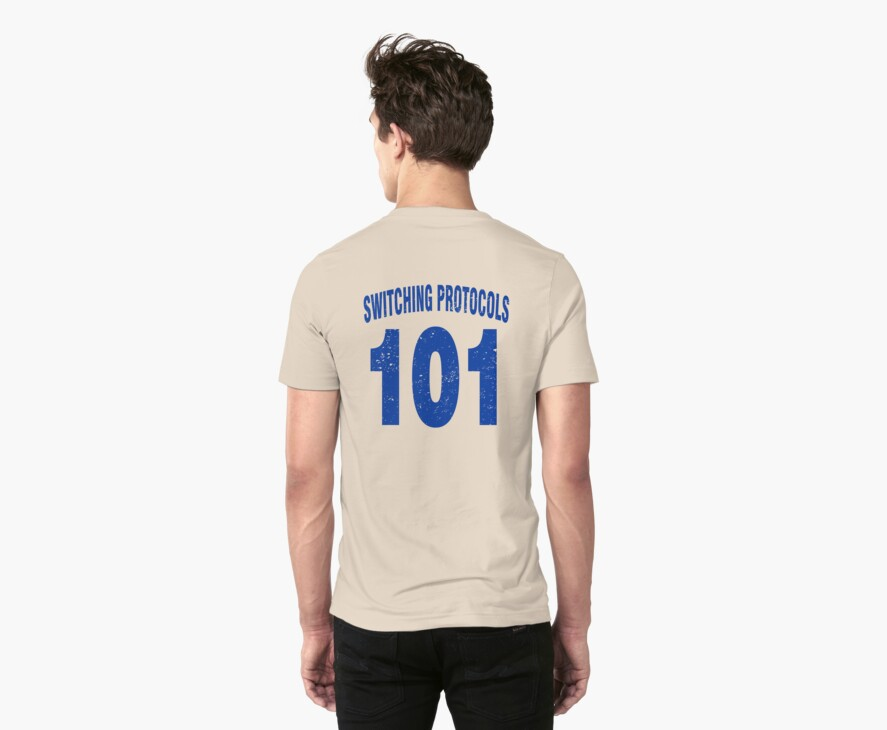 Team shirt - 101 Switching Protocols, blue letters by JRon