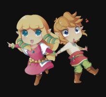 Legend of Zelda Skyward Sword: Chibi Link and Zelda Kids Tee
