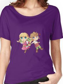 Legend of Zelda Skyward Sword: Chibi Link and Zelda Women's Relaxed Fit T-Shirt