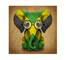 Baby Elephant with Glasses and Jamaican Flag Art Print