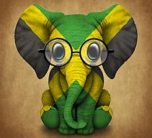 Baby Elephant with Glasses and Jamaican Flag by Jeff Bartels
