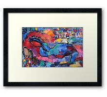 laying blue nude Framed Print
