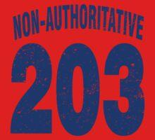 Team shirt - 203 Non-Authoritative, blue letters One Piece - Short Sleeve