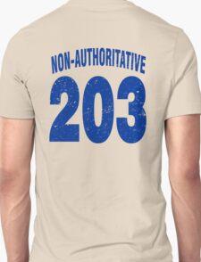 Team shirt - 203 Non-Authoritative, blue letters T-Shirt