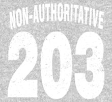 Team shirt - 203 Non-Authoritative, white letters One Piece - Long Sleeve