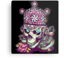 Flower of Life Sugar Skull Metal Print
