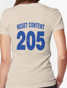 Team shirt - 205 Reset Content, blue letters Womens Fitted T-Shirt
