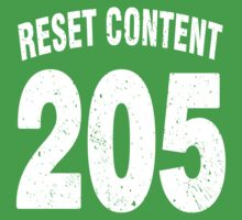 Team shirt - 205 Reset Content, white letters One Piece - Short Sleeve