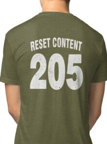Team shirt - 205 Reset Content, white letters Tri-blend T-Shirt