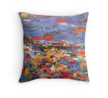blue riviera Throw Pillow