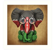 Baby Elephant with Glasses and Kenyan Flag Art Print