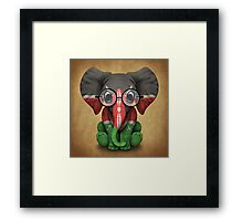 Baby Elephant with Glasses and Kenyan Flag Framed Print