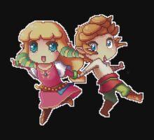 Legend of Zelda Skyward Sword: Chibi Link and Zelda (pixel version) Kids Tee
