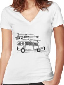 Car sketch Women's Fitted V-Neck T-Shirt
