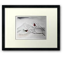 robin birds at Mountain landscape  Framed Print