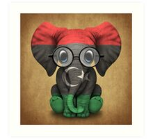 Baby Elephant with Glasses and Libyan Flag Art Print