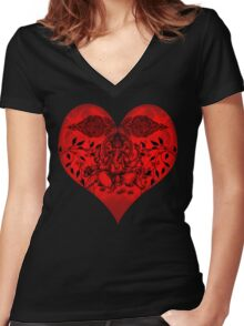 INDIANHEART Women's Fitted V-Neck T-Shirt