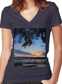 Beaufort Harbor Sunset Women's Fitted V-Neck T-Shirt