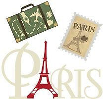 Cute Vintage Paris Luggage Stamp and Eiffel Tower by pdgraphics