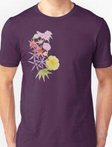Watercolour florals on purple T-Shirt