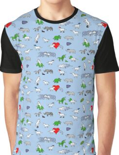 Unicorn and Friends Awesome Pattern Graphic T-Shirt