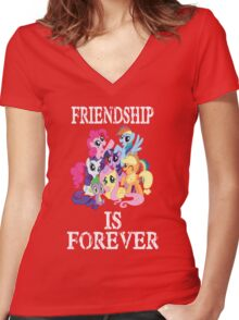 Friendship is forever [white text] Women's Fitted V-Neck T-Shirt
