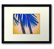 blue palmtree and yellow sky abstract Framed Print