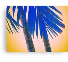blue palmtree and yellow sky abstract Canvas Print