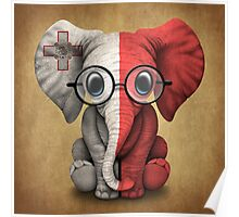 Baby Elephant with Glasses and Maltese Flag Poster