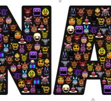 Five Nights at Freddys - Pixel art - FNAF typography (Black BG) Sticker