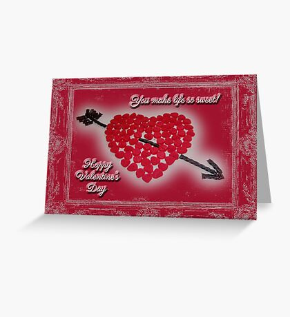 Valentine's Day Greeting Card - Candy Heart Licorice Arrow Greeting Card