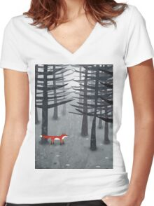 The Fox and the Forest Women's Fitted V-Neck T-Shirt