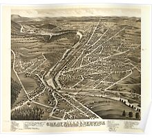 Panoramic Maps Bird's eye view of Great Falls Strafford Co New Hampshire  Berwick York Co Maine 1877 Poster